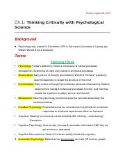 Ch. 1- Thinking Critically With Psychological Science (Psych)