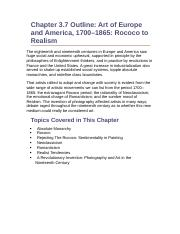 Chapter 3.7 Outline- Art of Europe and America, 1700–1865- Rococo to Realism