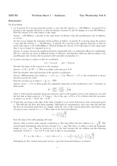 Problem Sheet 1 Solutions on Kinematics