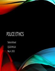 CJ1420 Unit 4 Presentation 1 Police Ethics