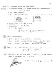 MATH 2260 Fall 2014 Parameterized Surface and Surface Integrals Notes