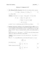 Assignment 11 Solution Spring 2014 on Partial Differential Equations