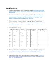 3 04 electromagnetism - Lab Worksheet 1 Explain what it means when