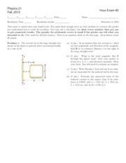 Introductory Physics II Exam 2 fall 2012