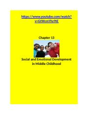 CChapter 13 notes Social Emotional Dev Middle Childhood.....docx