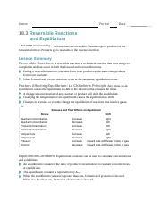 Unit 15 Le Chatelier's Principle - Name Period Date 18.3 ...
