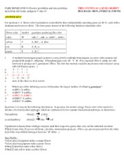 TAKE HOME QUIZ #1-Practice probability and ratio problems taken from old exams, pedigrees 9  thru 16