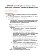 BADM 300 Exam Study Guide- Business Ethics, Business & Constitution, Criminal Law & Cyber Crime