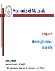 Chapter (6) shearing stresses