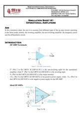 Simulation Sheet 1 - Operational Amplifiers