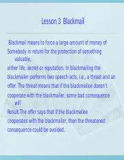 Lesson 3 Blackmail