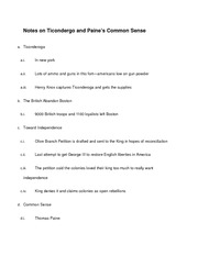 Notes on Ticondergo and Paine's Common Sense