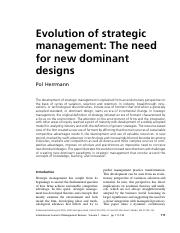 2 Evolution of strategic management-The need for new dominant designs