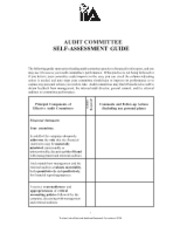 Audit Committee Self-assessment Guide (IIA)