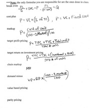 Formulas for Pricing