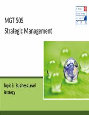 Topic 5 Business Level Strategy