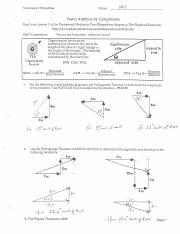 Vectors Physics Classroom Answers Vectors And Projectiles Name Key
