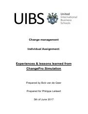 Individual assignment - Change management - Bob van de Geer.pdf