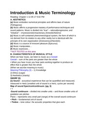 Introduction & Music Terminology