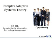 Class 03 and 04 - Complex Adaptive Systems Theory(1)