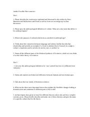 Anthro Possible Short answers