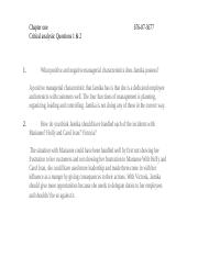 Chapter 1- Critical analysis (1 & 2)
