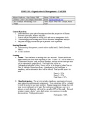 HRM 1101 Syllabus Fall 10