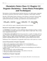 Chemistry Notes Class 11 Chapter 12 Organic Chemistry Some Basic Principles and Techniques