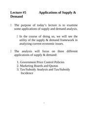 Lecture 5: Applications of Supply & Demand Econ 1150