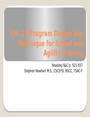 Ch. 19 Program Design and Technique for Speed and Agility Training