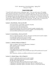 Study Guide Exam  Intro to Social Psychology Spring 2014