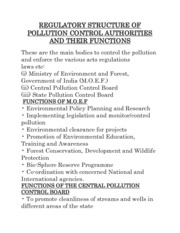 REGULATORY STRUCTURE OF POLLUTION CONTROL AUTHORITIES