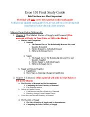 Econ 101 Final Study Guide