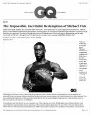 Leitch, The Impossible, Inevitable Redemption of Michael Vick