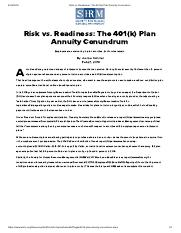 Risk vs. Readiness_ The 401(k) Plan Annuity Conundrum.pdf