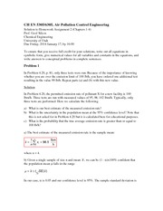 Homework 2 Solution on Air Pollution Control Engineering