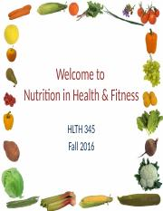 Welcome to HLTH 345 on-line FA 16