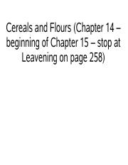 Cereals and Flours Lecture
