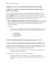 English 251 Final Exam  Study Guide Winter 2013