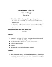 Study guide and review for Final Exam  social psychology 231 Fall 2014 (1)