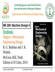01 Bearing Life Pptx Department Of Mechanical Engineering Me 308 Machine Design Ii Textbook Shigley U2019s Mechanical Engineering Design R G Budinas And Course Hero