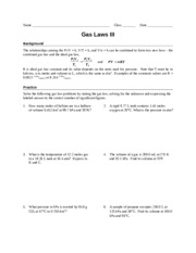 Worksheet - Gas Laws III