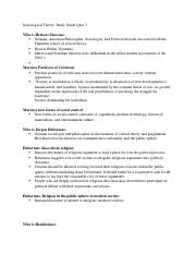 Sociological Theory Quiz 3 Study Guide