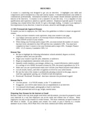 Resume Outline and Practice Resume