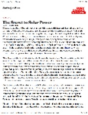 The Secret to Solar Power 8-9-12 NYTimes