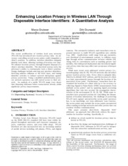 Enhancing Location Privacy in Wireless LAN Through Disposable Interface Identifiers- A Quantitative