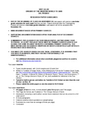 HIST 111-03 Fall 2011 - Research Paper Guidelines