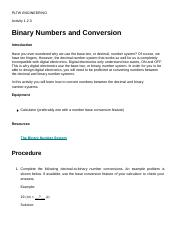 Johnnie Activity 1.8 Binary Numbers and Conversion.docx