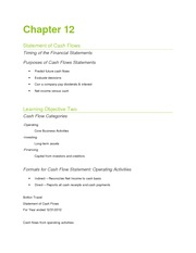 Chapter 12 Notes -  Cash Flow