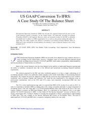 US GAAP to IFRS - Case Study on Balance Sheet